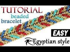 Tutorial: beaded bracelet [easy] egyptian style / Как сплести браслет из бисера в египетском стиле - YouTube