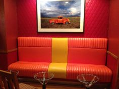 "Inspired by Jack Parson and Carmella Padilla's book, ""Low 'n Slow - Lowriding in New Mexico,"" this hotel bar and lounge is an ideal spot for food and drinks. Surround yourself with lowrider style, where artistic cultural elements including diamond-tuck upholstered seats, hub caps, creative photos and tables made of chromed chain-link steering wheels decorate the outdoor patio and indoor dining area."