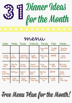 this lady makes a monthly meal plan each month with breakfast lunch