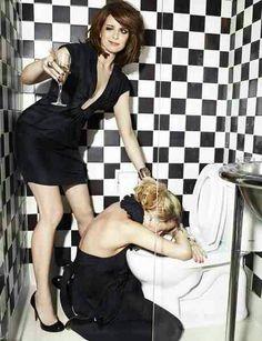 "houseofsushi: "" Tina Fey + Amy Poehler """