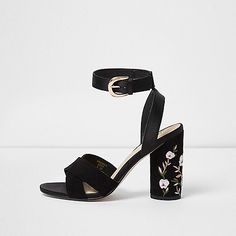 Velvet upper Cross strap Buckle fastening Block heel with floral embroidery detail Heel 10.5cm