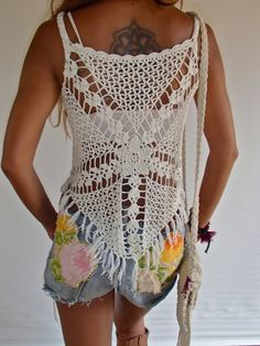 Handmade Fringed Crochet Top/ Off-White Color/ Boho by SpellMaya