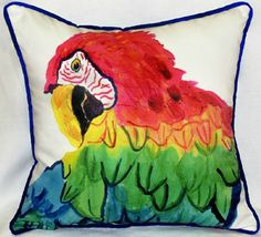 "18"""" x 18"""" Colorful, tropical large parrot head design pillow for indoor and outdoor decorating, it's like a miniature work of art! Durable, fade resistant fabric beach cottage pillow - backing is a"