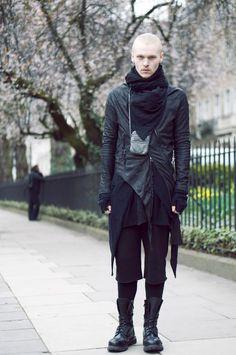 The New Dark Wave (21st Century) men's male fashion gentleman dark black jacket pants blonde