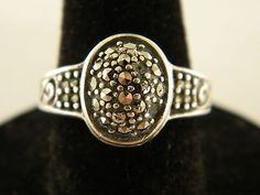 Sterling Silver 925 Marcasite Dome Ring Size 6.75 G9200