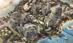 Winner of the second place prize in an international design competition, the Forest City was created for a 24-hectare site and judged on its efficiency of land use, sensitivity to the environment, and inclusion of a landmark building that embodied the notion of a forest city.