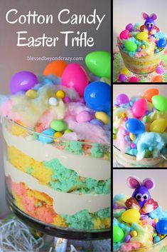 Cotton Candy Easter Trifle (GF version included) - you guys... this is so easy to make and easily tweaked to be gluten free!! The kiddos will LOVE it!!! #blessedbeyondcrazy #Easter #trifle #cottoncandy