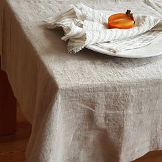 Natural grey linen tablecloth, made from stonewashed natural heavier weight linen