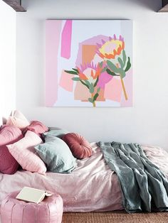 Ways to Use Pantone's TECH-nique Palette in Your Home Complement colorful artwork with accent pieces or bedding for some relaxing vibes.Complement colorful artwork with accent pieces or bedding for some relaxing vibes. Bedroom Colors, Home Decor Bedroom, Bedroom Ideas, Bedroom Designs, Artwork For Bedroom, Bedroom Paintings, Warm Bedroom, Interior Livingroom, Bedroom Green