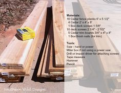 Materials for building a planter box.