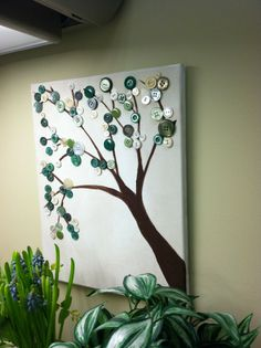 The Buttonwood Tree in Green  Original Canvas by LuvUniqueThings, $25.00