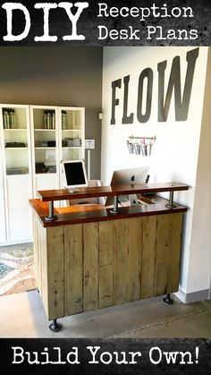 Reception desks are expensive.  Why not build your own?  Full DIY build plans are available for the FLOW reception desk at Lazy Guy DIY.  It's an easy build for a cashier counter at a retail store or a front desk for a fitness study.  Check it out!