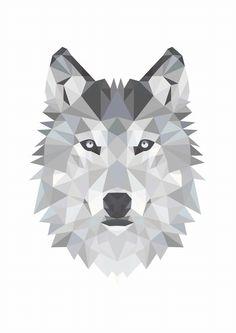 Designclaud poster - Geometrische Wolf in zwart grijs en wit #posters #bercadeau