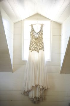 Gold & White Vintage Style Wedding Gown