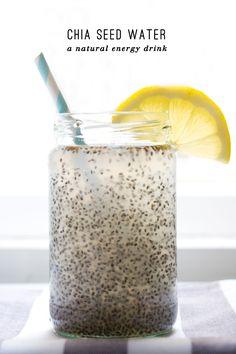 chia seed water, natural energy drink, healthy, clean eating, chia seeds, vegan,