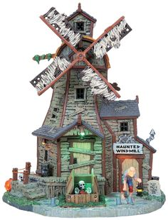 Lemax Spooky Town Collection Halloween Village Building Haunted Windmill With Adaptor Saw Halloween, Halloween Items, Halloween House, Halloween Queen, Halloween Train, Halloween Village Display, Halloween Decorations, Lemax Village, Creepy Monster