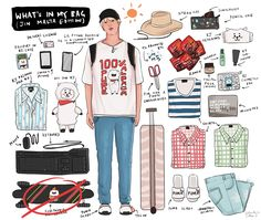 what's in my bag (seokjin edition) Bts Airport, Airport Style, Bts Bag, Bts Bon Voyage, Skateboard Design, What In My Bag, Bts Drawings, Bts Chibi, I Love Bts