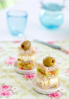 Triples (Triple-layered mini-sandwich). This could easily be made into cute little VEGAN finger sandwiches for a VEGAN TEA PARTY!