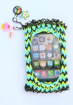 Rainbow loom iPhone case, I'm going to start making this soon!