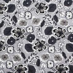 Baumwollstoffe - Blumen Mit Blatt Grau