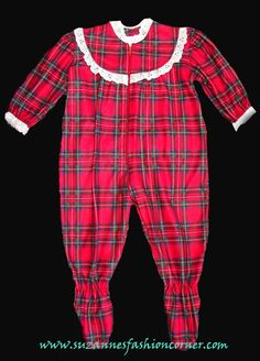 2e812f6a54 Christmas Baby Girls One Piece Plaid Red Pajama