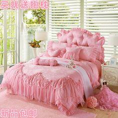 Conjunto de quatro peças princesa rendas saia de algodão 100% algodão colcha de cama