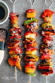 Hawaiian Chicken Bacon Pineapple Kebabs | https://cafedelites.com