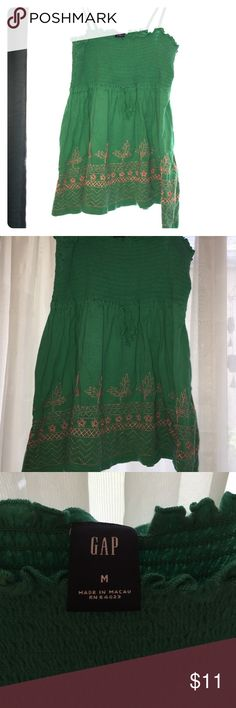Green w/ Envy 💚💚 Gap 💚 Green Tank w/Orange embroidery  💚 gathered top GAP Tops Tank Tops