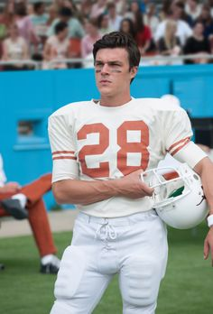"""""""My All-American"""" movie still, 2015. Finn Wittrock as Freddie Steinmark. PLOT: A star HS football player (Wittrock) faces the toughest challenge of his life after leading his team to a championship season. Football Movies, Football Boys, College Football, Finn Wittrock, Ahs Cast, Robin Tunney, American High School, Only Clothing, Cartoon Tv Shows"""