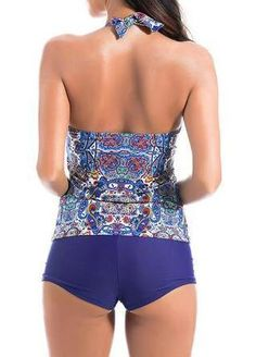 Sexy Halter Floral Printed Wireless Tight Elastic Breathable Boyshort Tankini Swimwear Sets at Banggood Tankini Swimsuits For Women, Plus Size Swimsuits, Bikini Inspiration, Style Inspiration, Bikini Fashion, Fashion Fashion, Fashion Ideas, Pantyhose Outfits, Swimwear Cover Ups