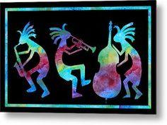 Kokopelli Jazz Trio Metal Print by Jenny Armitage