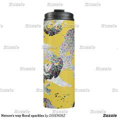 Nature's way floral sparkles thermal tumbler Custom Tumblers, Yellow Background, Travel Mug, Sparkles, Floral Design, Water Bottle, Mugs, Drinks, Drinking