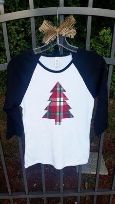 Appliqued Rustic Shabby Boutique Holiday Plaid Flannel Christmas Tree Women's, Junior's Raglan Tshirt T-shirt Tee