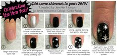 TUES-TORIAL TIME!! Add some shimmer to your 2015 with this cute nail design created by Jennifer H. from #LJIC - Cedar Rapids.   #LjicCR #TuesTorial #TuesdayTutorial #LjicTutorial www.LJIC.edu www.facebook.com/lajamesinternational