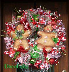 GINGERBREAD Boy and GINGERBREAD Girl CHRISTMAS Wreath by decoglitz