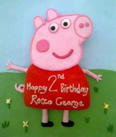 Peppa Pig Cake... she'd love it... do I want a Piggy party though?!