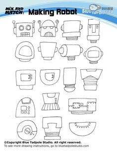 Blue Tadpole Studio - How to draw-mix and match robot ideas (plus other drawing printables)