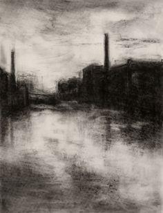 Benjamin Fedosky Holyoke Canal II Charcoal drawings