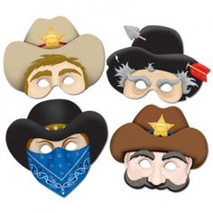 Western Theme Cardboard Masks, Pack of 4, For Adults and Older Children :: Party Kiosk
