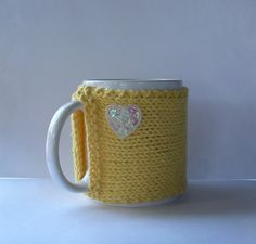 Knitted Mug Cozy  Yellow with White Sequin by KatysKnitKnacks, $7.00