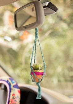 Brighten up any space with this cute mini macrame succulent! Perfect for your home, hanging from your car rear view mirror, or your desk at work! Best part is, they're faux. Car Accessories For Girls, Car Hanging Accessories, Faux Succulents, Cute Cars, Fancy Cars, Diy Car, Natural Life, Vida Natural, Sentimental Gifts