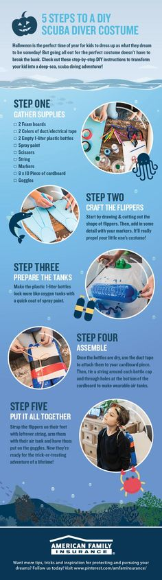 Looking for a creative DIY costume idea? We've got you covered! Check out these step-by-step instructions on transforming your kiddo into a deep-sea scuba diver, then study up on some trick-or-treating safety tips. Family Costumes, Diy Costumes, Halloween Costumes, Scuba Diver Costume, Electrical Tape, Shark Week, Bottle Painting, Safety Tips, Deep Sea