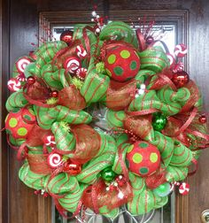 Gorgeous lime green and red mesh wreath