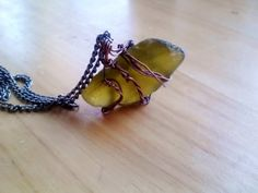 Olive Seaglass Wirewrapped Pendant Necklace by JennieVargasJewelry,