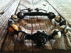 Macrame Pave Bead Bracelet Black and Yellow by ShamballaStyle, $8.99