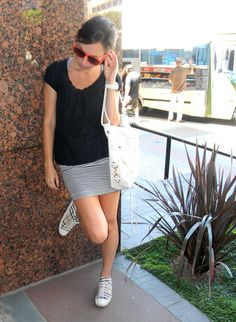 Skirt with sneakers- Love this! LOTS!