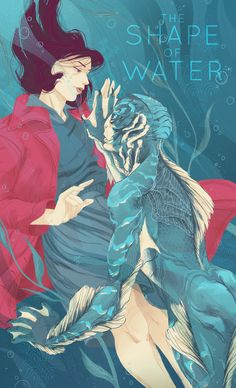 the shape of water tsow guillermo del torro sally hawkins doug jones movie poster illustration fanart elisa esposito fishman   bailiesartblog.tumblr.com