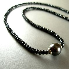 Grey Pearl Necklace Grey Pearl and Spinel  Beaded by SurfAndSand
