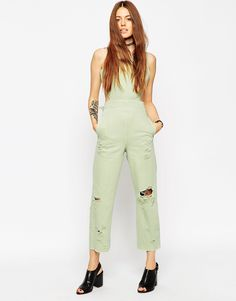 Image 1 ofASOS Denim Wide Leg Cut Out Jumpsuit In Mint With Rips