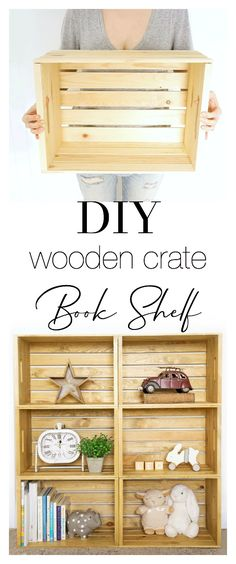 Looking for a unique rustic shelf that doesn't break the bank? This DIY Wooden Crate Shelf adds character and is totally customizable depending on the colour of stain and number of crates you choose! Perfect for a nursery, bedroom, office or bathroom! Wooden Crate Shelves, Diy Wooden Crate, Rustic Shelves, Wooden Crates, Wood Shelf, Urban Barn, Diy Pallet Projects, Diy Craft Projects, Wood Projects